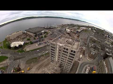 dundee - This is the last few days in the demolition of Tayside House,the former Tayside Regional Council,and latterly Dundee City Council office building.