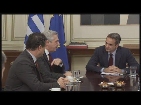 Συνάντηση του Κυριάκου Μητσοτάκη  με τον επικεφαλής της Ύπατης Αρμοστείας του ΟΗΕ για τους Πρόσφυγες