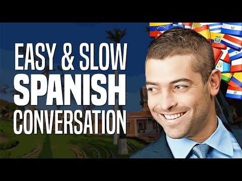 Beginner Spanish Conversation #1: Meeting A Stranger (with Slow Pronunciation And English Subtitles)