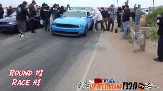 Salinas Racing & West Coast 1320 12 car shootRace#1 Round #1800hp terminator cobra vs Nitrous Coyote Mustang with bolt onshttp://instagram.com/platinum1320tvhttps://www.facebook.com/PLATINUM1320t