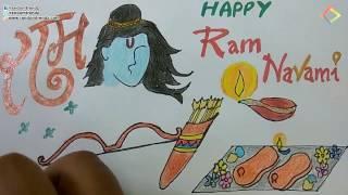 Easy Rama Navami Greeting Drawing step by step-Lord Rama Birthday Greeting Card Design