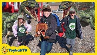 Video Dinosaur Escape Plan! Giant Life Size Raptors Attack Kids Playground & T-Rex Toy Saves the Day MP3, 3GP, MP4, WEBM, AVI, FLV Januari 2019