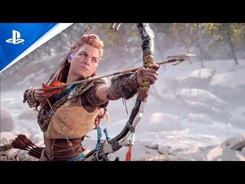 Protagonist Aloy draws back on her bow.