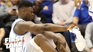 Zion's shoe blowout and injury 'couldn't be worse' for Nike - Max Kellerman | First Take