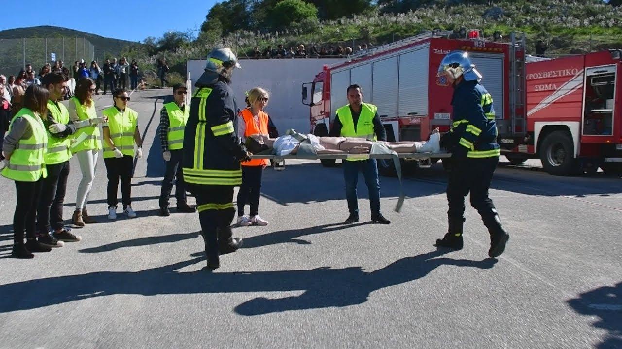 Άσκηση της πυροσβεστικής υπηρεσίας Ναυπλίου: Κατάρρευση κτιρίου μετά από σεισμό με πυρκαγία