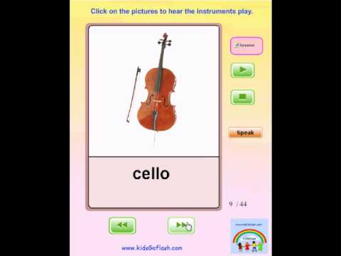 Audio Flashcards for Preschoolers – Musical Instruments. (Hear each instrument play)