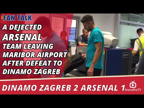 A Dejected Arsenal Team Leaving Maribor Airport After Defeat To Dinamo Zagreb