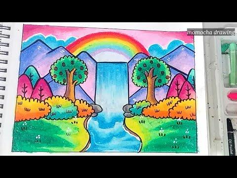 Pemandangan air terjun - Cara menggambar dan mewarnai gradasi oil pastel