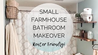 🛀 SMALL FARMHOUSE BATHROOM MAKEOVER | ON A BUDGET | RENTER FRIENDLY