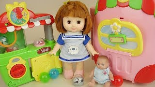 Baby doll carrier house and surprise eggs game play Doli house