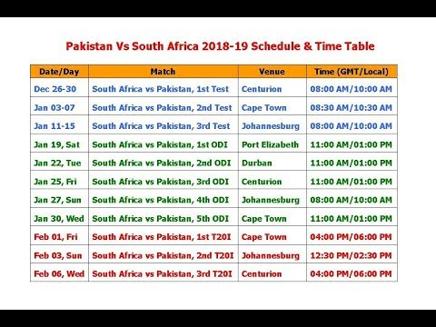 Pakistan Vs South Africa 2018-19 Schedule & Time Table