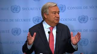 Press Stakeout by H.E. Mr. António Guterres, United Nations Secretary-General, on the Democratic People's Republic of Korea, Venezuela, Charlottesville and other topics.