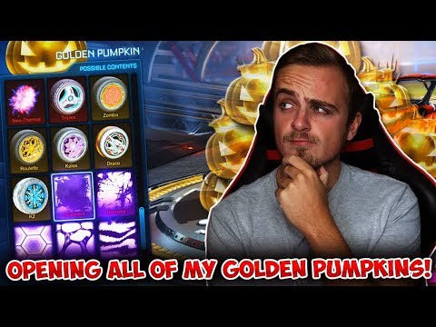 OPENING ALL OF MY GOLDEN PUMPKINS IN ROCKET LEAGUE! (The Next Haunted Hallows/Golden Egg Crate!)