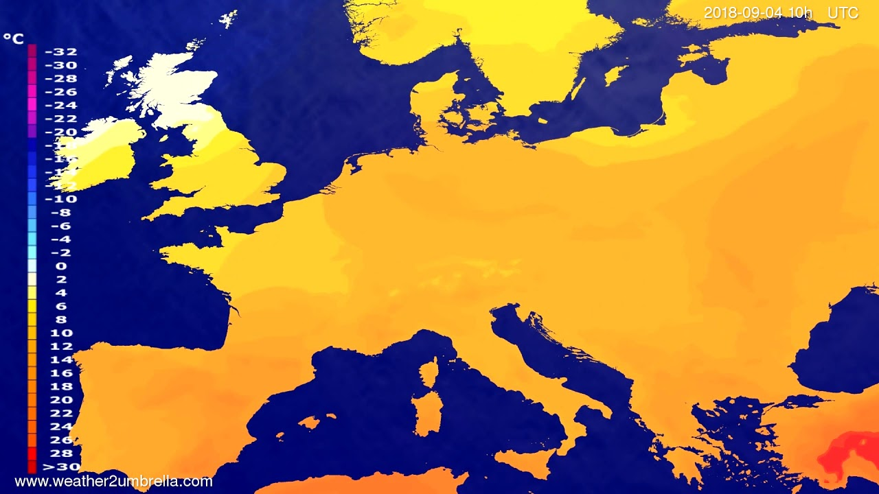 Temperature forecast Europe 2018-09-01