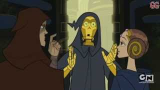 This is a Cartoon Network Micro-Mini Series from 2003-2005. It takes place in between Star Wars Episode 2 Attack of the Clones and Revenge of the SithThis is Season 3 Episode 1Episode Description: Captain Fordo and his ARC troopers rescue Ki Adi Mundi, Aayla Secura and Shaak Ti from Grievous but leave K'Kruhk for dead. The Jedi council grants Anakin Skywalker the title of Jedi Knight, after which Senator Amidala allows him the use of R2D2 as co-pilot for his Jedi Interceptor.