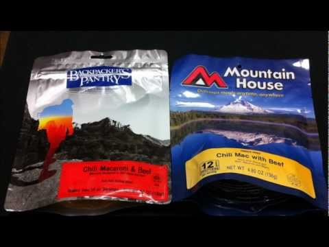 backpackers - Mountain House and Backpackers Pantry food comparison. I cooked both of them following the directions exactly to that last 1/4 cup. Poured them from the bag ...