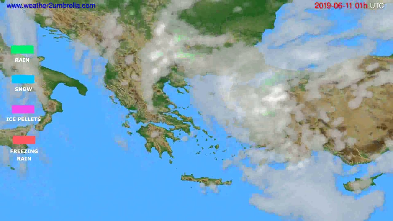 Precipitation forecast Greece // modelrun: 00h UTC 2019-06-09