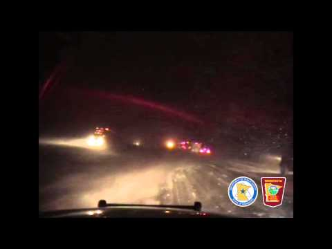 Two semis drive off I-94 in Minnesota Winter Storm