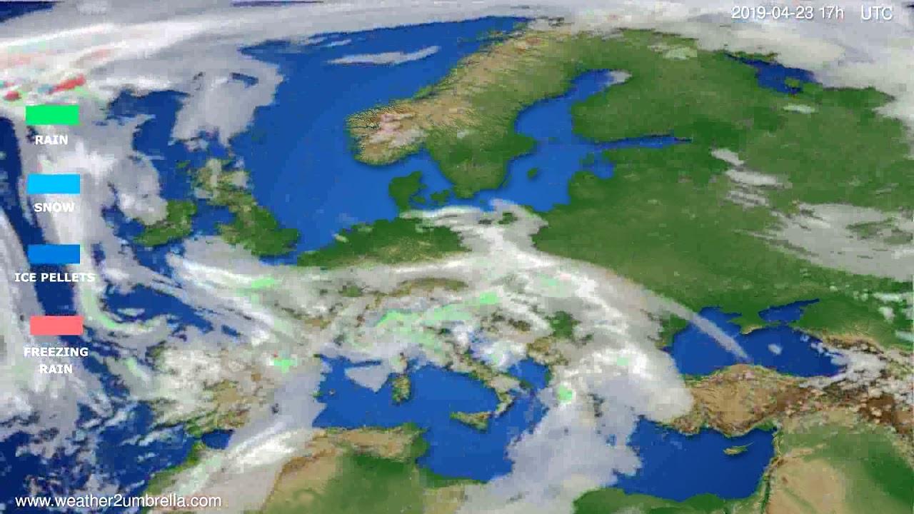 Precipitation forecast Europe // modelrun: 00h UTC 2019-04-22