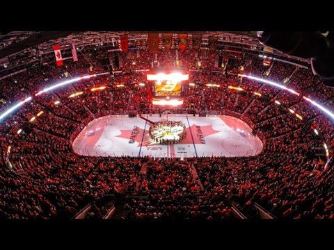"Ottawa - Fans in Ottawa, Montreal and Toronto sing ""O Canada"" in unison to pay their respects and honor those affected by the recent tragedies in Canada."