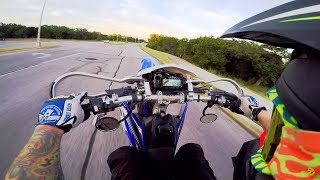 """Busting out of the gate with the first WR450 chasers.  Hate on it.  This bike is a dream.  Get one today.  Links to everything I use below.My Bikes:2012 Yamaha WR450F Supermoto2015 Honda MSX125 Grom2008 DRZ400sm SupermotoDiamondback Viper 20"""" BMXMy Gear:Fly Racing MX Helmet: http://amzn.to/2rs2xpqFox Air Space Goggles: http://amzn.to/2so3BeZSpeed & Strength Gloves: http://amzn.to/2sKVkokForce Rider Kevlar Reinforced Riding Pants: eBay GoPro Hero4 Silver: http://amzn.to/2tfJU9kGoPro Hero Session: http://amzn.to/2rs2GJuSena 20s Bluetooth: http://amzn.to/2tfBfUrRAM Mount: http://amzn.to/2sGlkBFCanon T7i: http://amzn.to/2sLG2zlNeewer Ring Light: http://amzn.to/2sLunknUSB Charging Hub: http://amzn.to/2sGavPYCard Reader: http://amzn.to/2sG0ySj2 TB External HD: http://amzn.to/2sLlxCURGB Mechanical Keyboard: http://amzn.to/2sCRPQlJOBY Gorilla: http://amzn.to/2sGkzZlSD Card Case: http://amzn.to/2tCIKnAGET MY DECALS HERE:https://squareup.com/market/en187/justin-the-apparition****FOLLOW ME EVERYWHERE!!!****MY SOCIAL MEDIAS:INSTAGRAM: https://instagram.com/justintheappari...FACEBOOK: https://facebook.com/justintheapparitionTWITTER: https://twitter.com/apparitionvlogs****FOLLOW ME ON SNAPCHAT!!!!  """"APPARITIONSNAPS""""****LIKE, COMMENT, SHARE, SUBSCRIBE!!!MUSIC:Outro is: Rittz - Ghost StoryIntro is:  cKy - 98 Quite Bitter Beings(I do not own the copyrights to this music)**********************************************For Entertainment/Educational purposes only."""