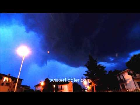Twisterfiddler.com  Friuli Italia outflow storm and evening tail-end-Charley timelapse