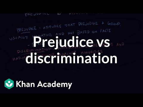 Prejudice Vs Discrimination Video  Khan Academy