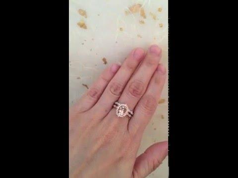 Bridal Set Vintage Floral Oval Morganite Engagement Ring & Diamond Wedding Band by La More Design