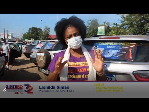 Presidenta do Sintero, Lionilda Simão, no ato nacional em defesa da vacinação