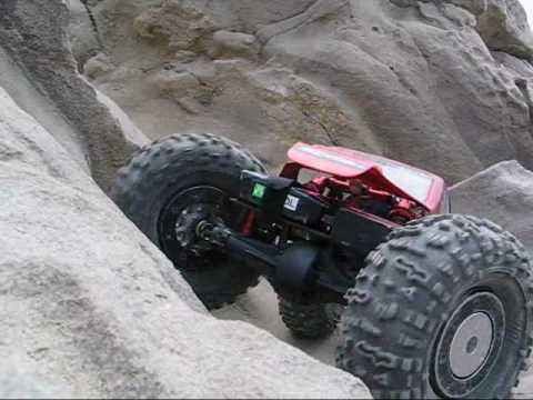 BenderCustoms - Axial AX10 axles and SWX chassis rock crawling at Corona Del Mar Beach.