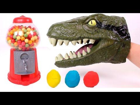 DINO EL DINOSAURIO Busca sorpresas de colores en la máquina de chicles  Juguetes en Español