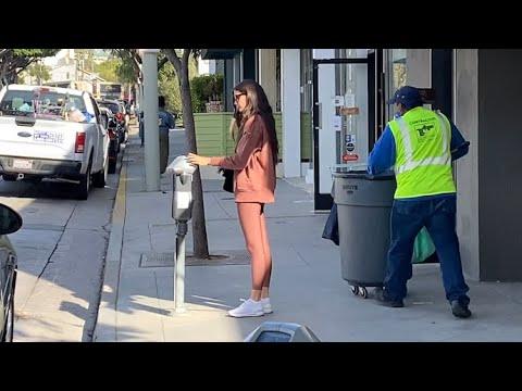 Sara Sampaio Showcases Her Supermodel Frame While Feeding The Meter