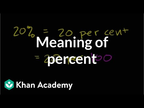 Percent - Learn more: http://www.khanacademy.org/video?v=Lvr2YsxG10o U05_L1_T1_we1 Describing the Meaning of Percent Content provided by TheNROCproject.org - (c) Monte...