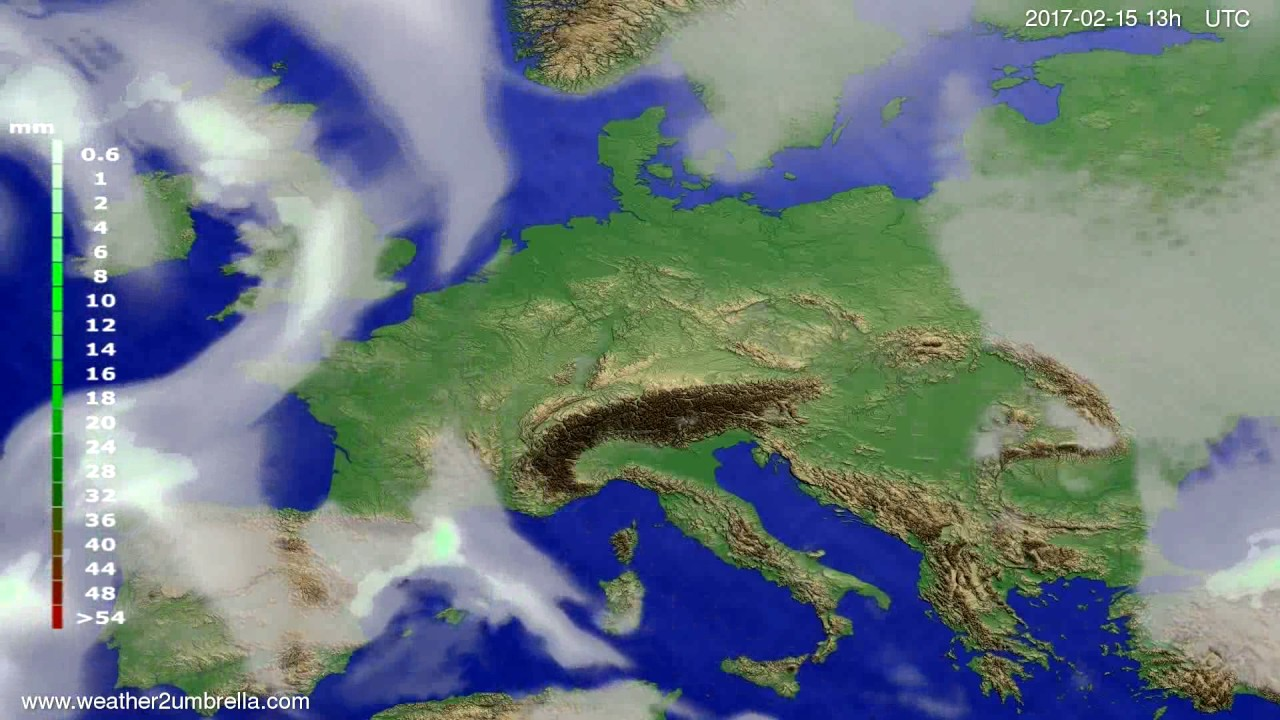 Precipitation forecast Europe 2017-02-12
