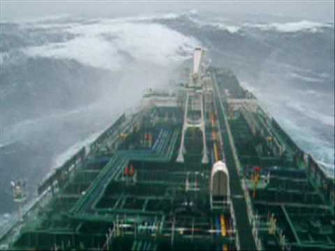 storm - Tanker ship in severe storm on pacific.