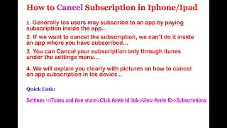 Most of us will buy a subscription for an app in iOS devices and not sure how to cancel those subscription..Here is a detailed video on it