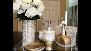 Dollar Tree DIY || Glam Bathroom Accessories