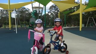 Twins get new micro bikes & learn how to ride