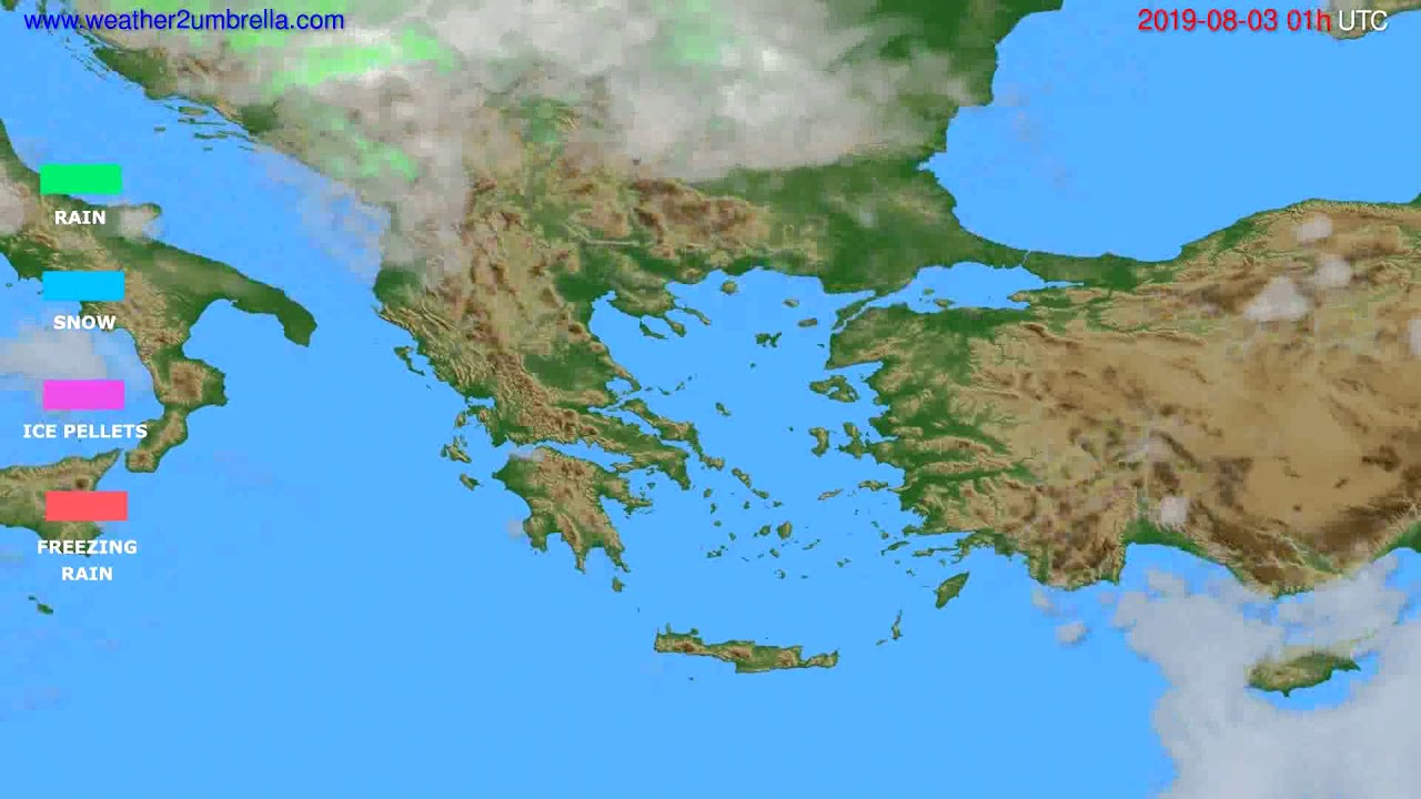 Precipitation forecast Greece // modelrun: 00h UTC 2019-08-01
