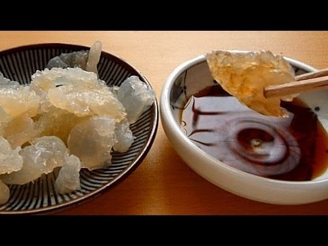 "Eating Japanese Food Sashimi ""Jellyfish Sashimi"" くらげ刺し身"