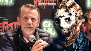 "From Scarefest, Lexington, KY, October 2016. Asking Sean Cunningham about him supposedly telling Adam Marcus to ""do something about the damn hockey mask"" in Jason Goes to Hell. His answer leaves little doubt. Hilarious panel, btw. One of the best I've ever attended. Enjoy!"