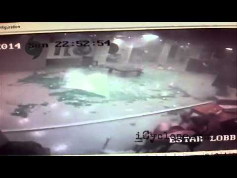All! - After the calm eye of Hurricane ODILE cleared Cabo San Lucas, violent winds in the back eyewall destroyed our hotel's lobby-- and surveillance cameras captured the moment from different angles!...