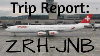 Flight information: Airplane: Airbus a340-313 (HB-JMA) Airline: SWISS Departure: Zurich Kloten (ZRH) Arrival: Johannesburg OR...