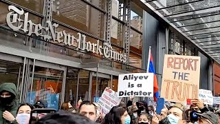 Armenians stage protest in front of The New York Times building in Manhatan, NYC.