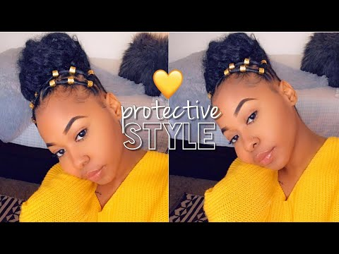 How To: Spiced Up Faux High Bun On Natural Hair | Rubber Band Hairstyle | Easy Protective Style