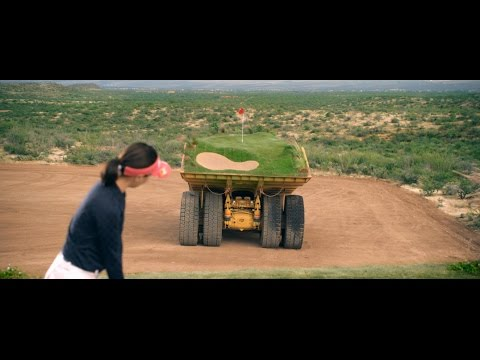 A Moving Course Built on Giant Dump Trucks