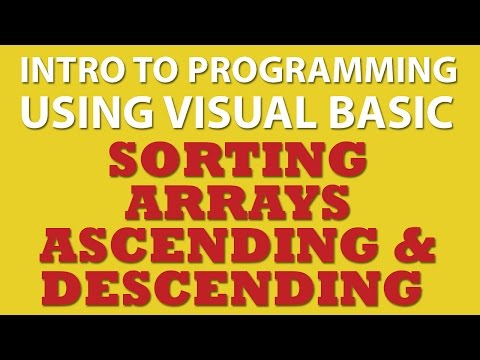 VB.net Sorting Arrays Ascending and Descending
