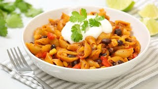 One Pot Cheesy Taco Pasta   Quick + Easy Pantry Recipe by The Domestic Geek