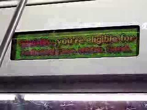 MustangFan424 - This is a video I took of a Ultra Rare display sign on a R143. You must be very lucky to see this being played on the display sign.