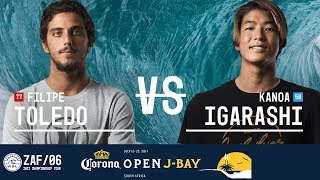 Filipe Toledo and Kanoa Igarashi face off in Round Two, Heat 8 at the 2017 Corona Open J-Bay. #WSL #jbay Subscribe to the...